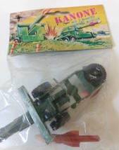 """German toy artillery cannon with plastic missiles Dime store toy 4"""" 'Kan... - $15.00"""