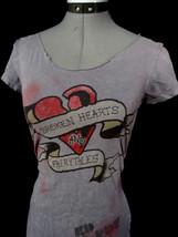 ED HARDY Audiger T-shirt Top S Purple Skull Roses -Broken Hearts & Butte... - $14.84