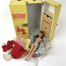 Vtg Skipper Barbie's Little Sister Yellow Double Carrying Case 1964 doll... - $29.69