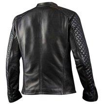 Men's Cafe Racer Biker Quilted Black Motorcycle Sheepskin Leather Jacket image 2