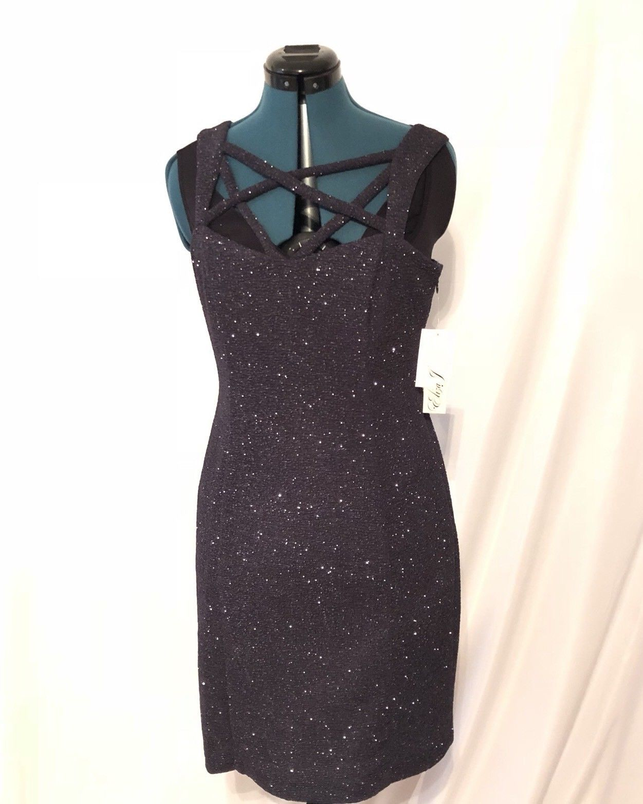 Eliza J Sleeveless Crisscross Detailed Glitter Dress NWT Steel Grey size 10 Midi