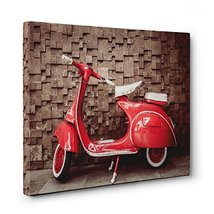 Old Scooter Photo Bicycle Canvas Wall Art Home Décor - $34.65