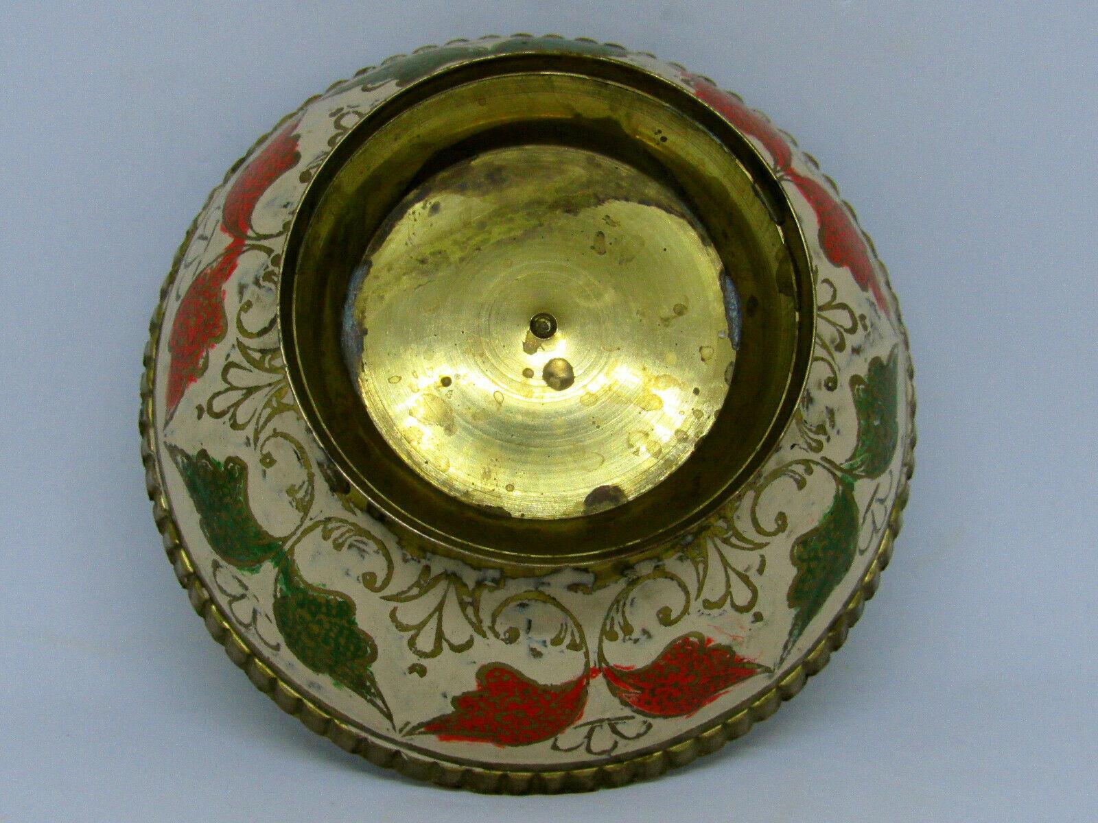 Vintage Brass Ornate Peacock Enameled Bowl on Pedestal image 8