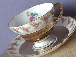 Vintage Mid Century Rosina gold English bone china pink rose tea cup teacup - $38.61