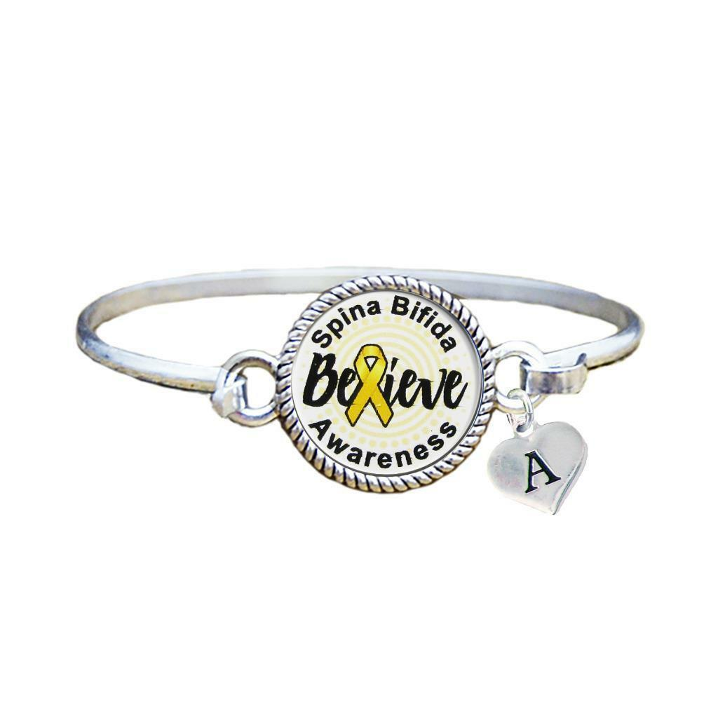 Primary image for Custom Spina Bifida Awareness Believe Silver Bracelet Jewelry Choose Initial