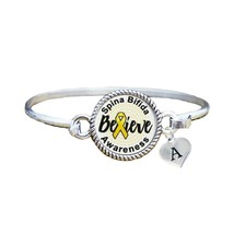 Custom Spina Bifida Awareness Believe Silver Bracelet Jewelry Choose Ini... - $14.10+