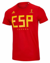 NEW MENS ADIDAS ESP SPAIN NATIONAL TEAM SUPPORTER FIFA WORLD CUP T SHIRT... - $19.79