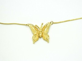 Beige Enamel Gold Tone Butterfly Pendant Necklace Vintage - $19.79