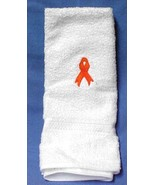 Leukemia Cancer Awareness Orange Ribbon Embroidery White Terry Cloth Bat... - $17.61