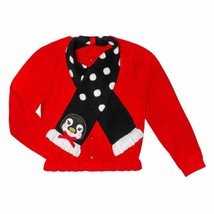 Fleurish Girl Cotton Cardigan Sweater with Penguin Scarf size 6/6X - $10.00