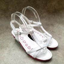 "Place Big Girls  168874 Sz 5 M White  T-Strap 2"" Wedge Sandals - $24.99"