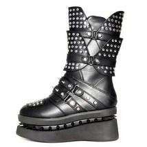 Hades SPEKTOR Punk Black Vegan Boots Studded Spiked Black Platform Gothic - $196.00