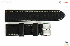 Bandenba 24mm Genuine Black Textured Leather Panerai White Stitched Watch Band - $32.13