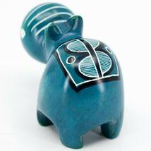 Crafts Caravan Kisii Soapstone Turquoise Hippopotamus Hippo Figurine Made Kenya image 3