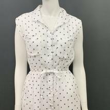Japna Dress Small Blue White Stars Sleeveless Elastic Waist Lined Button... - $22.99