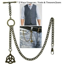 Albert Chain Pocket Watch Chain Brass Color 2 Ways Vests & Jeans Fob T B... - $16.99+