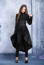 Women's Long Black Brocade Underbust Goth Coat Metal Front Clasp Dovetai... - $87.04