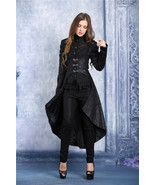 Women's Long Black Brocade Underbust Goth Coat Metal Front Clasp Dovetai... - $82.83