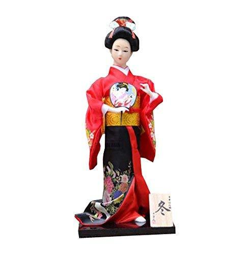"12"" Japanese Kimono Geisha Porcelain Figurine - Handmade Collection - Random - D"