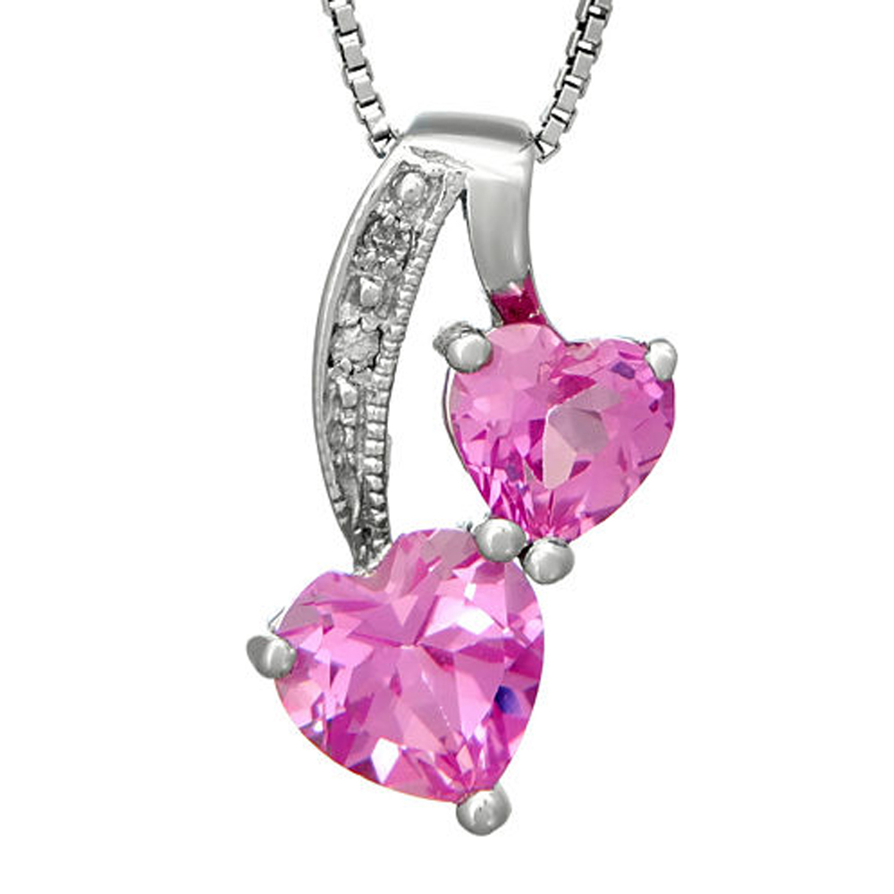 "Primary image for Pink Sapphire & Sim.Diamond 14K White Gold Fn Double-Heart Pendant 18"" Necklace"