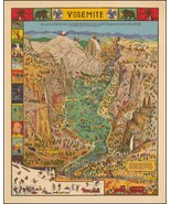 Yosemite National Park Humorous 1931 pictorial map POSTER Jo Mora 45443 - $15.84