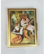 Vintage Renaissance style hinged metal photo case album padded fabric cover - $27.75
