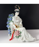 GEISHA PORCELAIN STATUE Asian sculpture figurine antique Japan blue pink... - $445.50