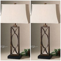 "PAIR 32"" RUSTIC MOTTLED DARK BRONZE MANICOPA TABLE BUFFET LAMPS UTTERMOST - $303.60"