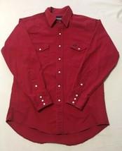 Vintage Wrangler Red Denim Shirt 44 Chest 33 Long Chambray w/ White Snaps  - $29.69