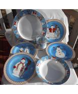 16 pc DEBBIE MUMM SNOWMAN DINNERWARE BOWL DINNER PLATE SALAD SOUP ROCK G... - £47.45 GBP