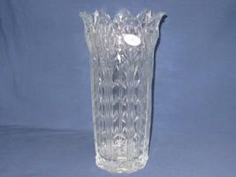"Fifth Ave Ltd Vtg 24% Lead Crystal Vase Petal Flared Rim 11"" tall Clear USA - $31.18"
