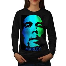 Bob Marley Serious Jumper Face Green Women Sweatshirt - $18.99