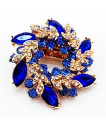 Blue Flowers Shape Brooch Pins Chinese Redbud Scarf Buckle Garment Brooches - $10.00