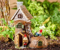"10.4"" Solar Powered Light Up Shoe Boot House Design with Gnome Accents Polyresin"
