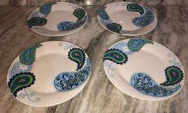 """New Royal Norfolk Blue Green ButterflyFlower Paisley Print 4ea 10"""" Dinner Plates - $39.48"""