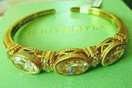 JUDITH RIPKA YELLOW GOLD CLAD DIAMONIQUE OVAL HINGED CUFF BRACELET AVERA... - $224.95