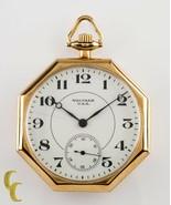 Waltham Octogon 14K Yellow Gold Antique Open Face Pocket Watch Gr 235 12... - $792.01