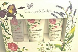 Crabtree & Evelyn Rosewater Body Lotion Cream Gel 3 Piece Travel Gift Set - $16.39