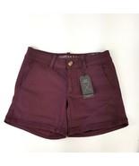 American Eagle AEO Twill Womens 2 Purple Shorts Super Stretch Midi Low R... - $16.82