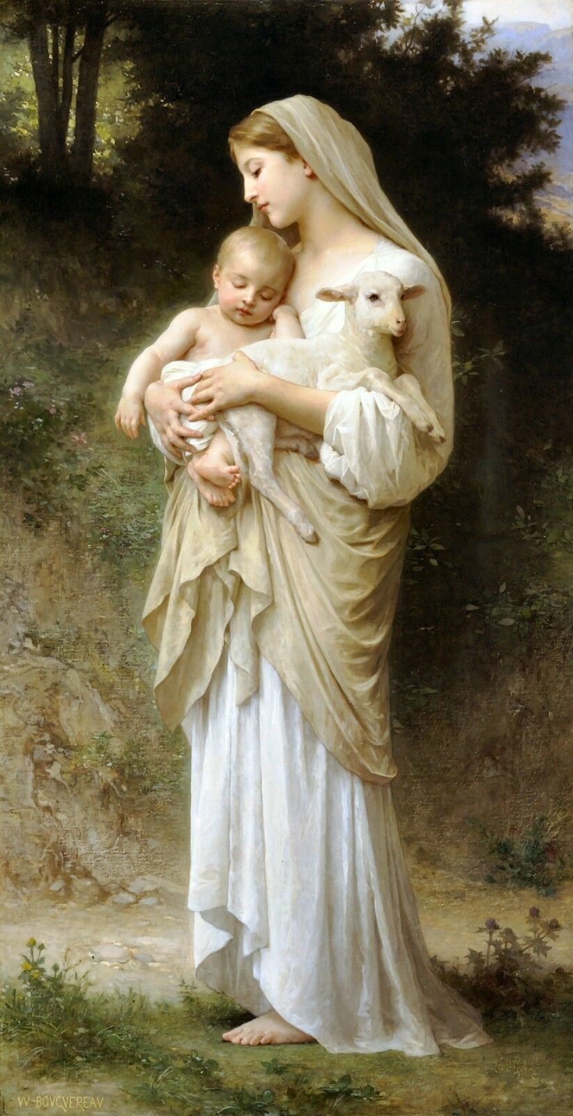 Primary image for Innocence by William Bouguereau Baby Christ Child Lamb Religious Christian 19x10