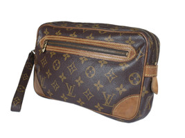 LOUIS VUITTON Marly Dragonne Monogram Canvas Leather Pochette Clutch Bag - $149.00