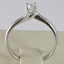 White Gold Ring 750 18K, Solitaire, Braided Rounded, Diamond, CT 0.16 image 4