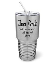 PixiDoodle Teach To Believe And They'll Achieve - Cheer Coach Tumbler wi... - $32.29