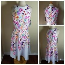 Tahari Women's Dress NWT White Azalea Royal Floral Sleeveless Fit & Flare - $62.40