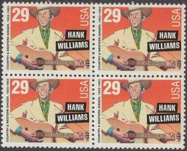 1993 Hank Williams Block of 4 US Postage Stamps Catalog Number 2723 MNH