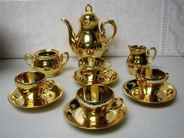Vintage,  Made in Japan, 12-pc Musical-Gilded Ceramic Tea Set - $142.45
