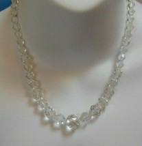 Vintage Multi-faceted Graduated Crystal Glass Necklace - $44.55