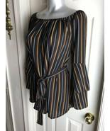 Unique Spectrum Boho Peasant Tunic Blouse Striped Tie Waist-  Plus Size 1X - $17.82
