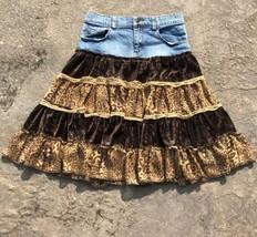 Children's Place Sz 12 Denim Skirt W/ Layered Brown Velvet & Tan Cheetah... - $23.71