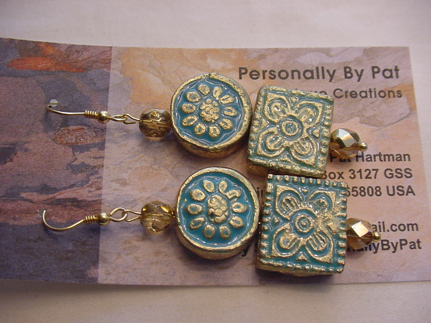 Unique Creations/Ozarks Turquoise/Gold Floral Aztec Tiles Drop Earrings
